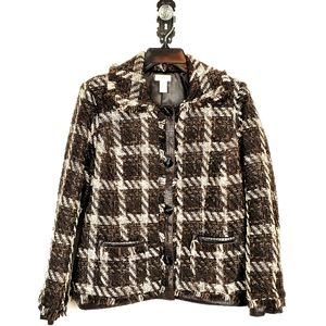 CHICOS Metallic Plaid Tweed Faux Leather Jacket S